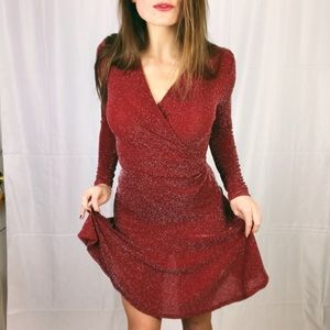 Michael Kors Dress Red Sparkle Party Sleeve NWT